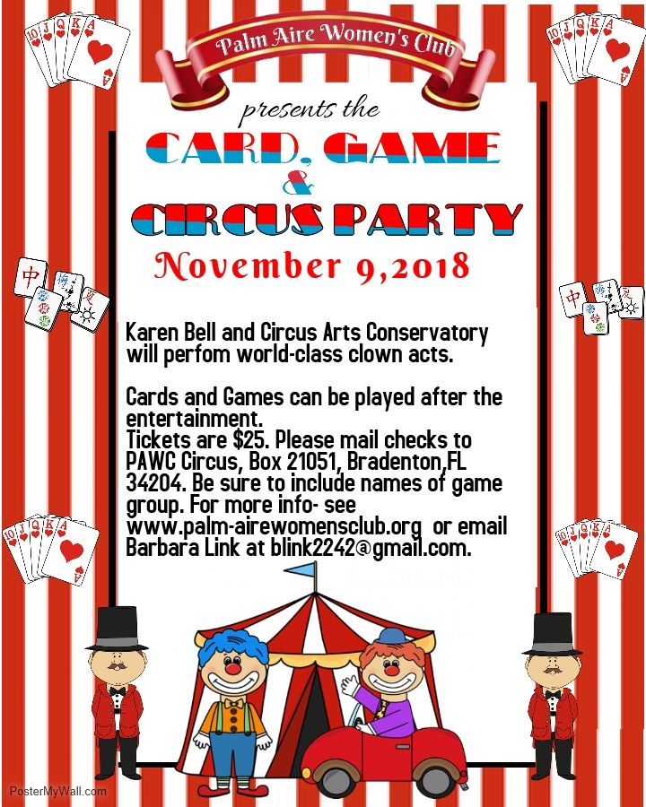 The November 9th PAWC Card, Game and Circus Luncheon features professional clown Karen Bell as entertainment.
