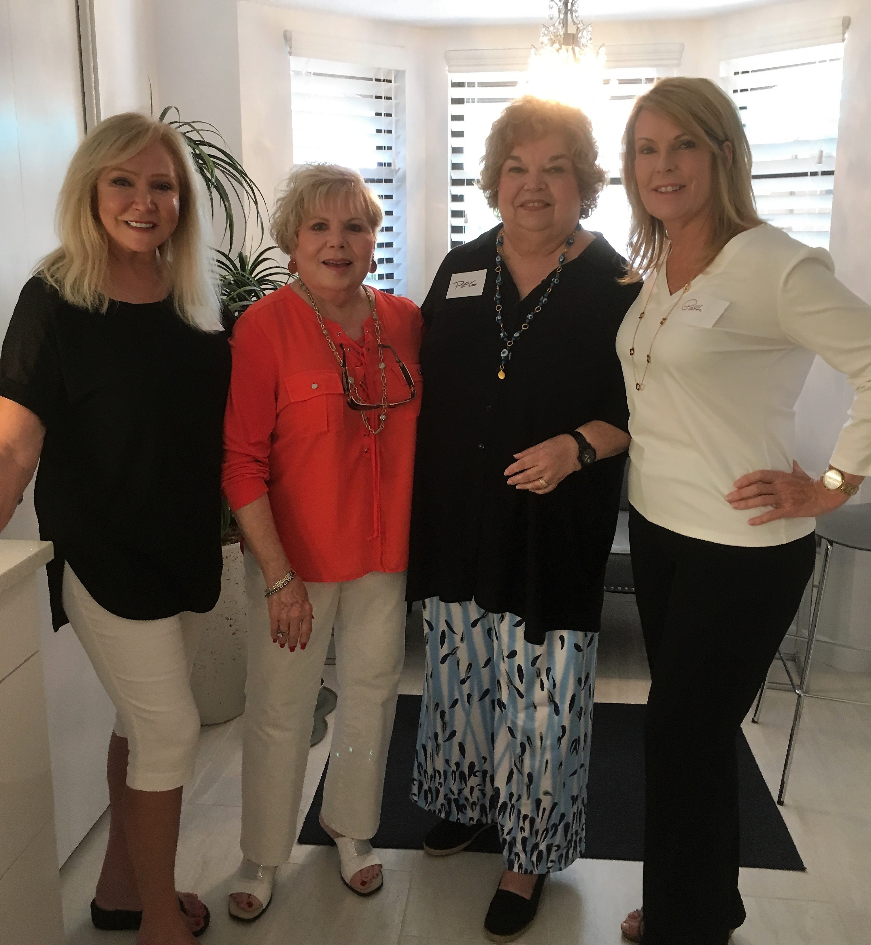 Lee McComas, Donna Hampton, Peg McKinley and President Patti Hernandez at the September Mix and Mingle at Lee's lovely home.