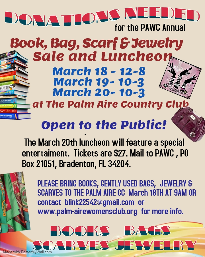 Books, bags scarves.